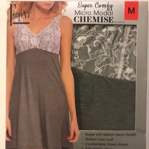 NWT/ In Box Chemise by Felina Micro Lace Nightgown